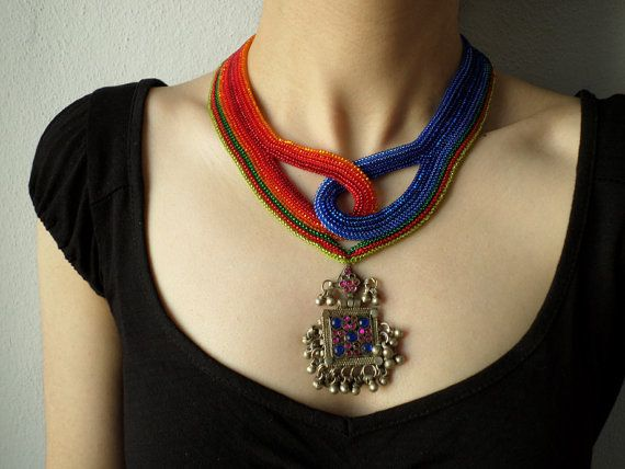 beaded statement necklace with orange red by irregularexpressions
