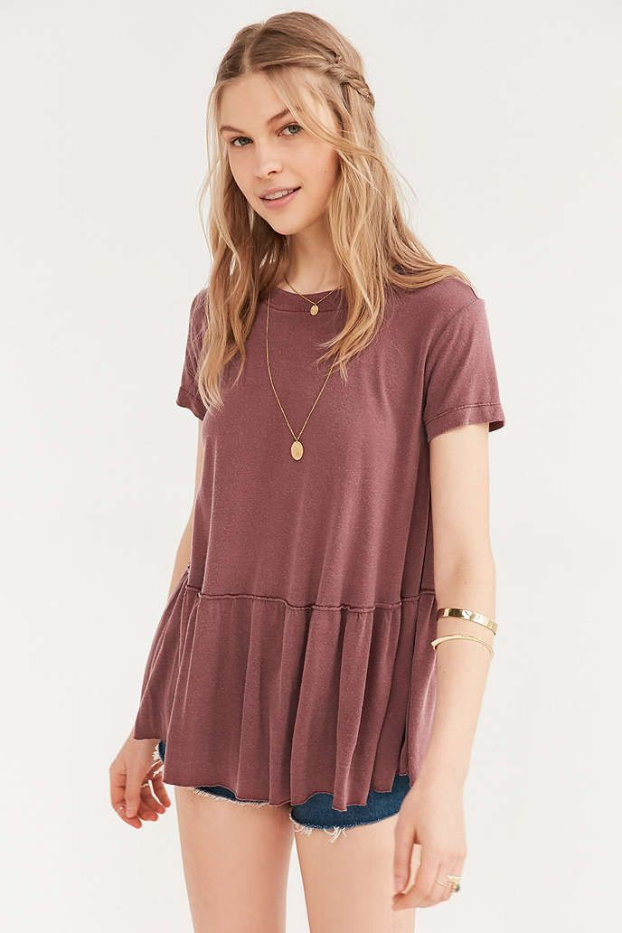 Truly Madly Deeply Dusty Road Peplum Tee - Urban Outfitters I want the white one!