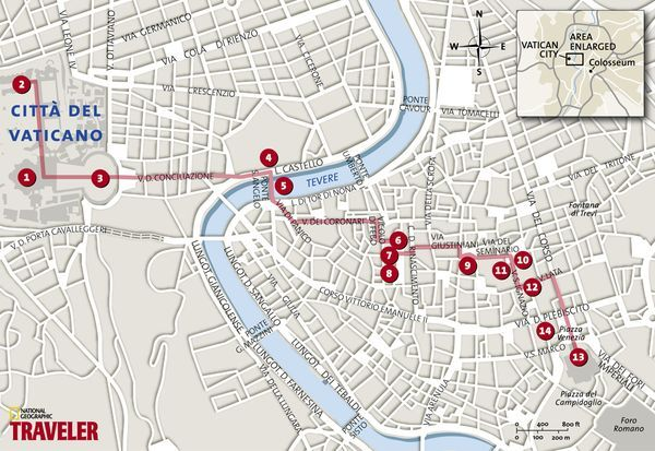 Map: The Heart of Rome - National Geographic walking tour