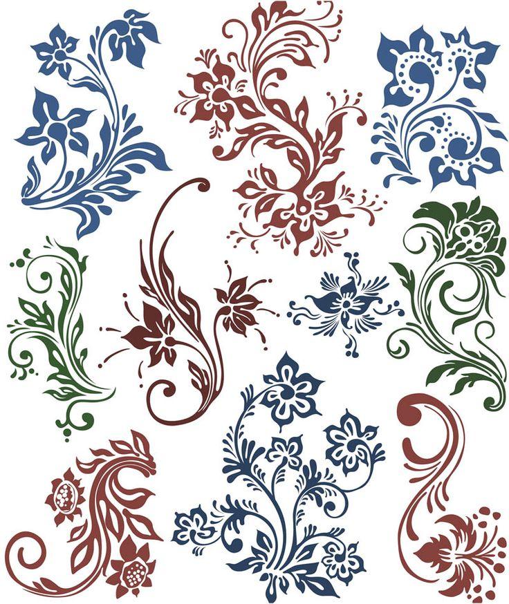 Flower swirls ornaments vector