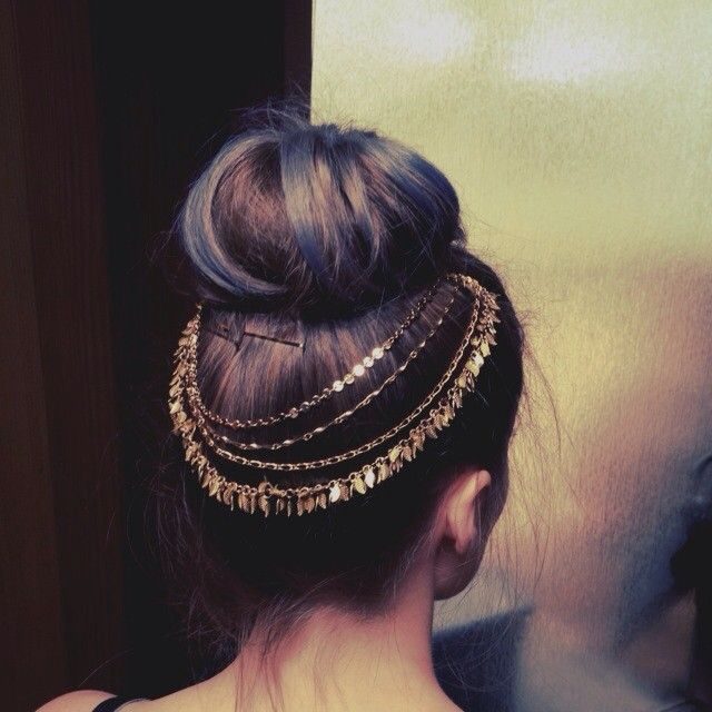 High bun and hair jewelry
