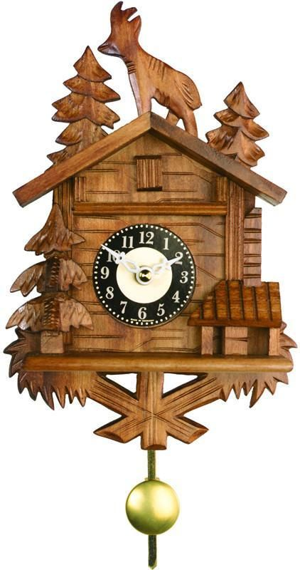 Quartz Novelty Clock - Chalet with Billy Goat on Roof - 8 Inches Tall