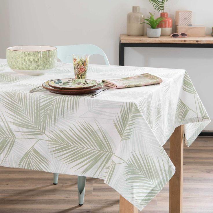 Mantel de algodón con estampado de follaje 170x170 cm | Maisons du Monde
