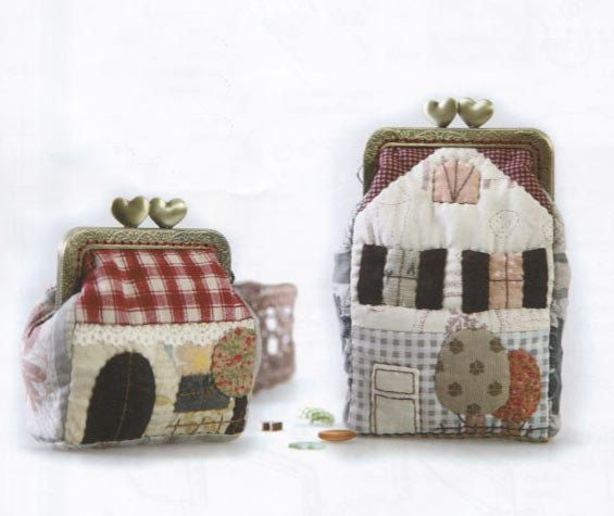 PDF Pattern of Sweet Home House 2 size coin purse wallet clip handbag bag ctton sewing quilt applique patchwork art gift