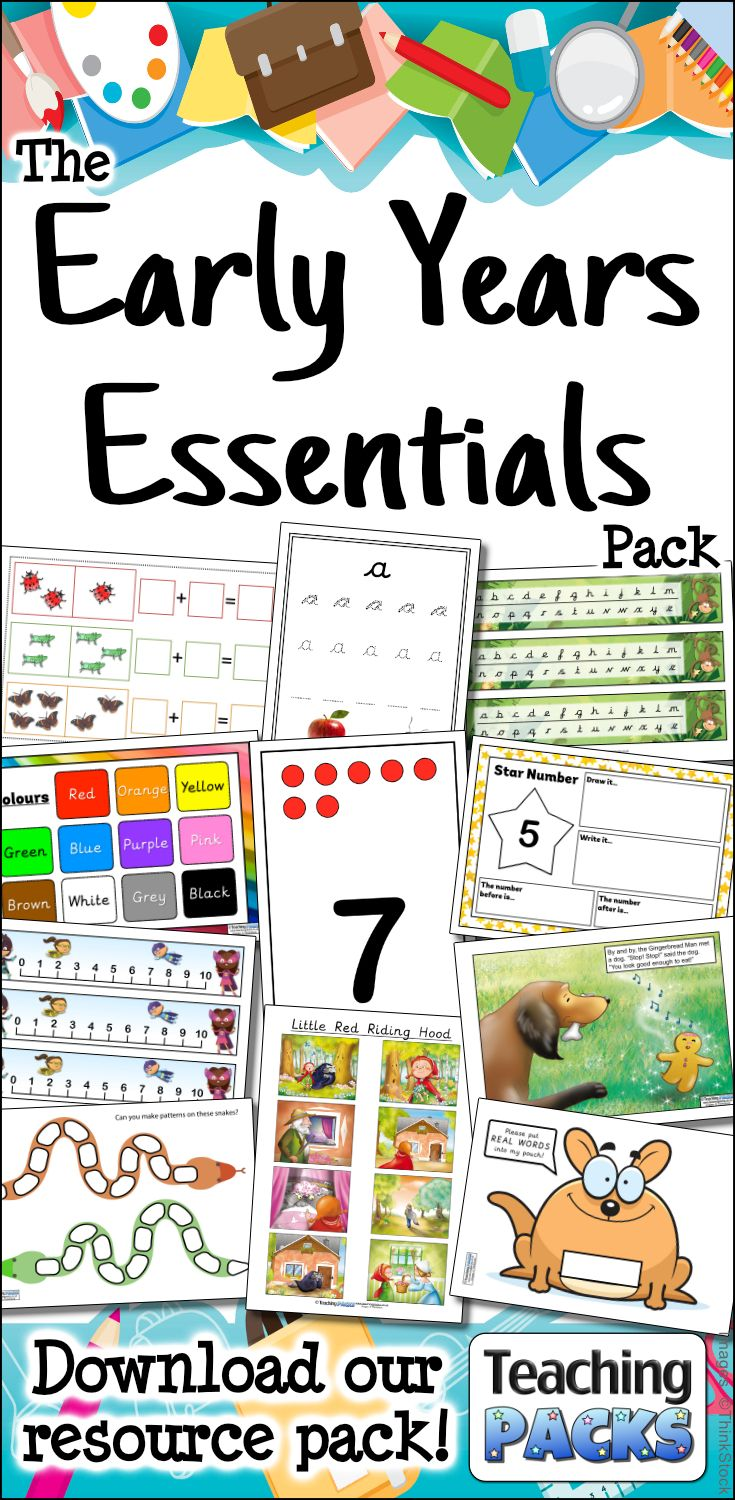 Use this fantastic collection of teaching, display and activity resources in your Early Years setting. This huge pack includes a wide range of English and Maths materials, along with printables to help you organise your classroom.  Available from https://www.teachingpacks.co.uk/the-early-years-essentials-pack/
