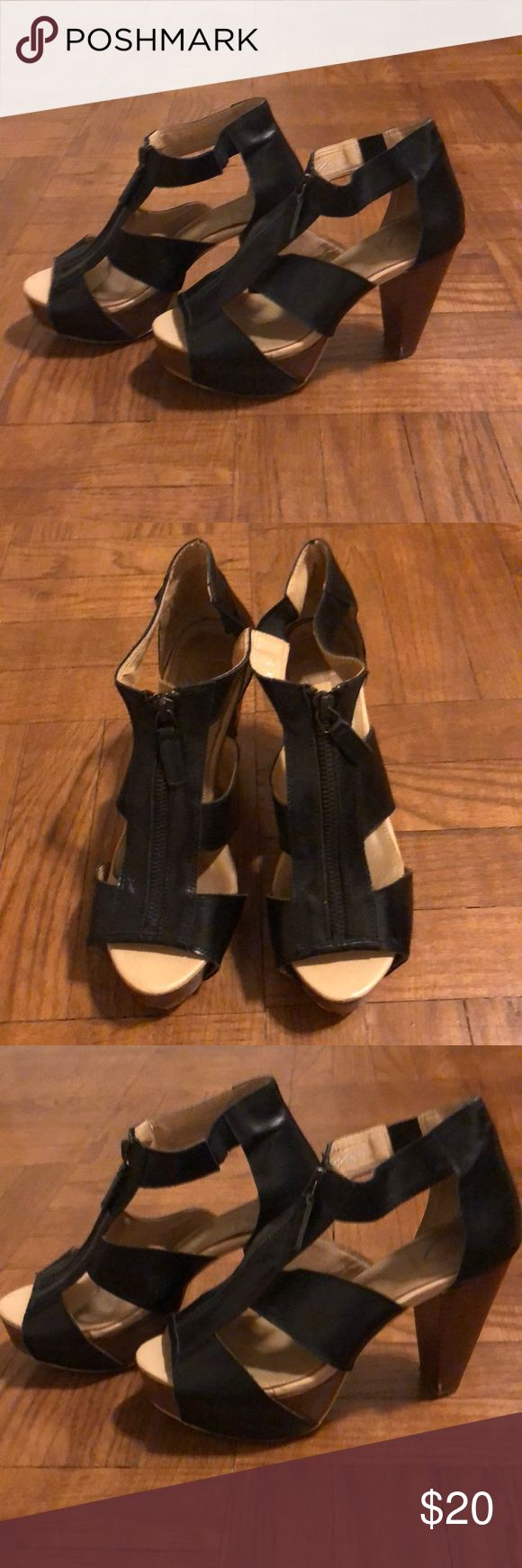 Charlotte Ronson Heels Charlotte Ronson brand sandal heels. Size 7. Black upper and wooden look heel and platform. Zipper front detail. Very good condition Charlotte Ronson Shoes Heels