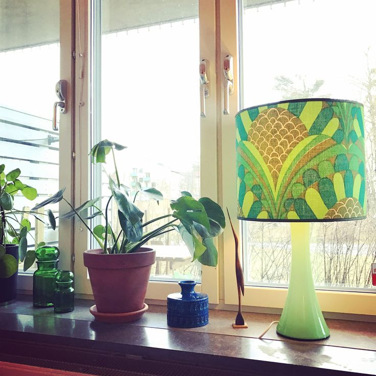 Retro, lamp, flowers, Monstera