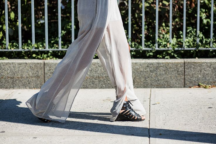 SS16 streetstyle details  white flared trousers  transparent