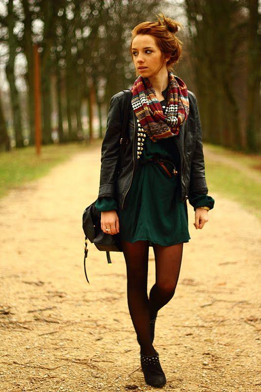 idea forest green dress brown belt black leather