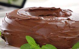 Bolo de chocolate com calda de ganache. receita de Rita Lobo - Delicia - Adorei !!!!