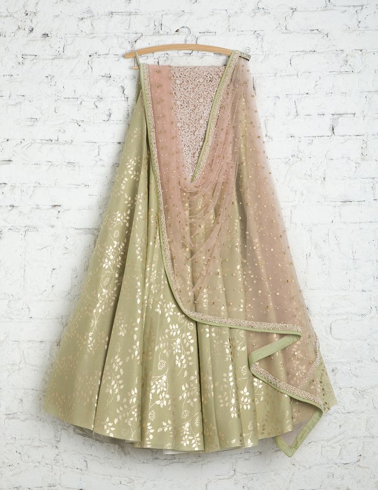 SwatiManish Lehengas SMF LEH 186 17 Soft teal lehenga with gold print and moti mirror dupatta and sequin threadwork floral blouse