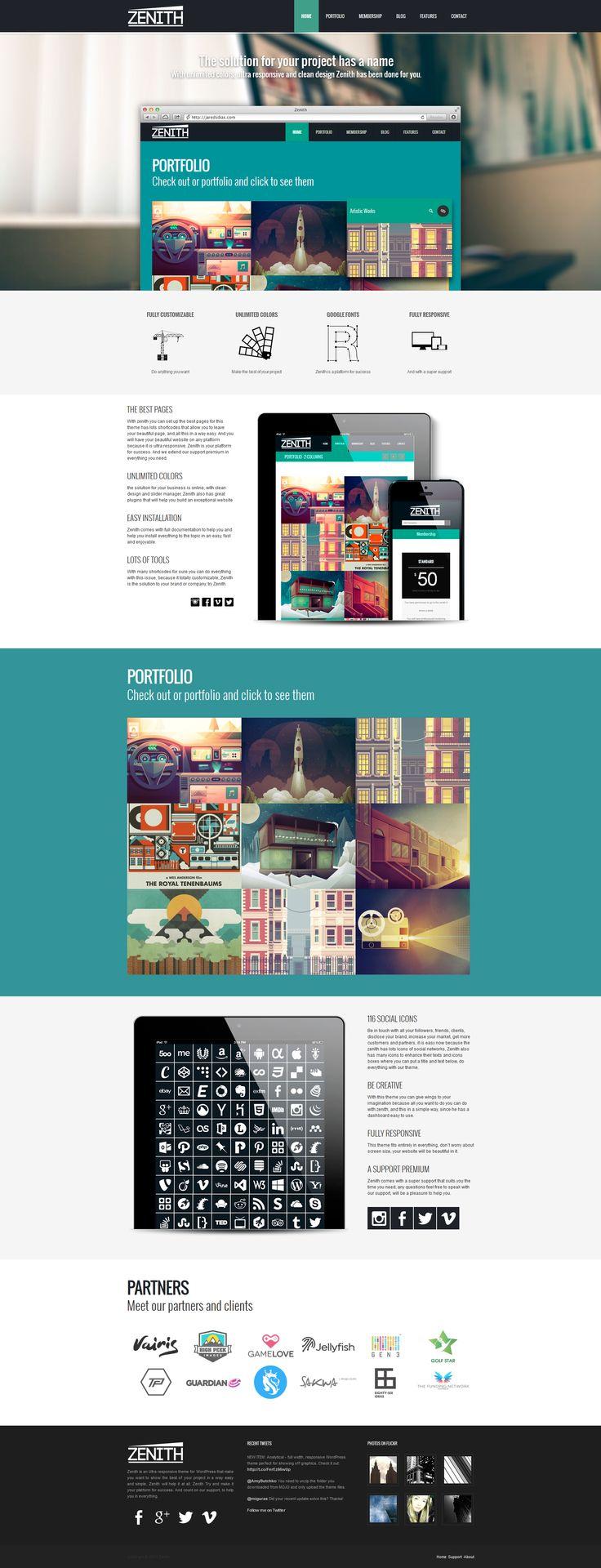 Zenith - Ultimate Portfolio Theme - Mojo Themes  #wordpress #theme #website #template #responsive #design #webdesign #flat #flatdesign #portfolio #creative