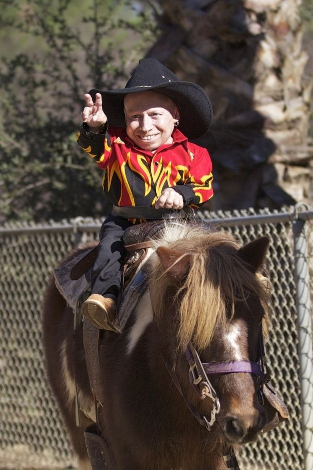 Verne Troyer Wearing A Flame Shirt On A Pony   Shirts ...