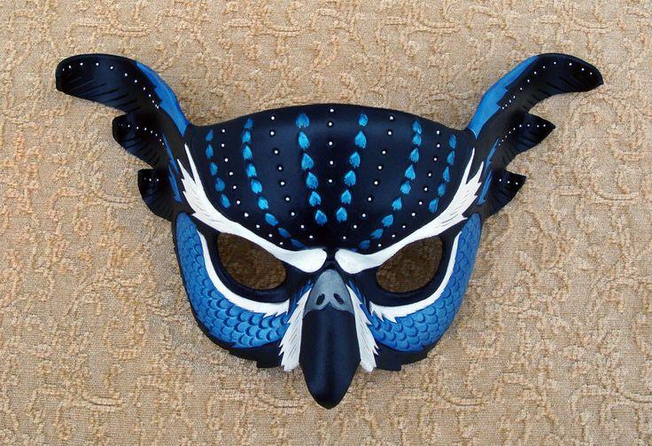 Blue Fantasy Owl Mask by merimask.deviantart.com on @deviantART