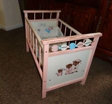 1950s baby cribs | Vintage Wood Baby Doll Crib Drop Side 1950's-60's Robyn this looks ...