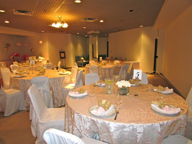Baby Shower Lunch| Pink Leaf Organza, White Chair Covers, Gold Line China, Ultra Flatware