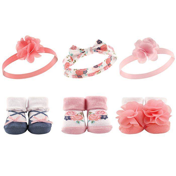 87a1aefe0adb6 Amazon.com: Hudson Baby Baby Girl's Headband and Socks Set, 6 Piece ...