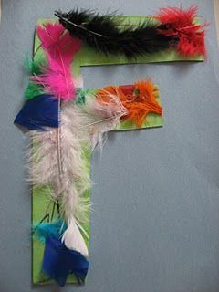 F feather like the idea of using materials that match the letter,