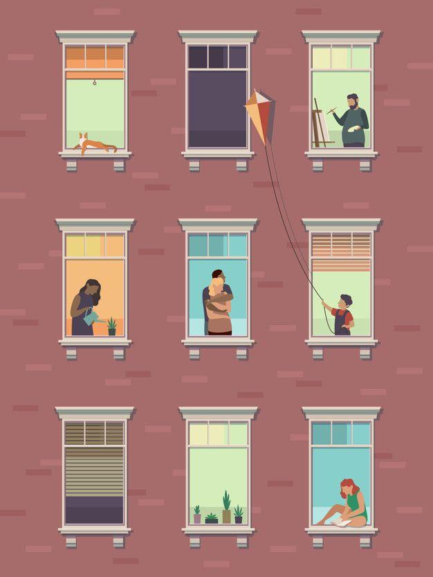 Windows With People Opened Window Neigh Premium Vector Freepik Vector People Building Illustration Window Illustration Communication Illustration