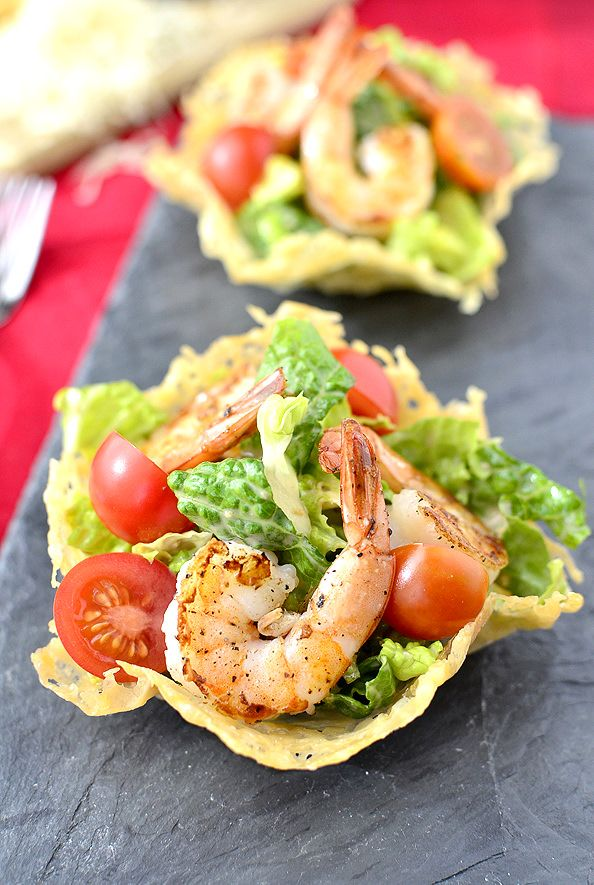 Shrimp Caesar Salad in Crispy Parmesan Cups #salad #appetizer #side @Iowa Girl Eats | iowagirleats.com