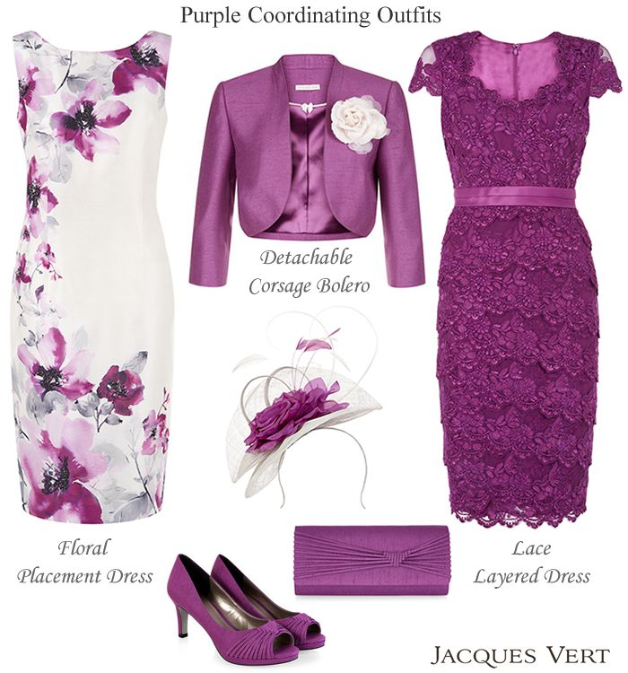 Jacques Vert Purple Mother of the Bride Mother of the Groom wedding outfits. Beaded floral shift, lace layered dress matching corsage bolero jacket peep toe shoes, clutch and two tone fascinator.