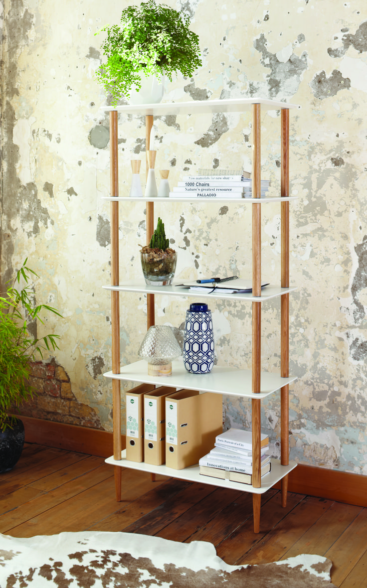 The Stuka Large 4 Tier Display Shelf has a crisp white painted finish with an oak frame that brings style to your home.