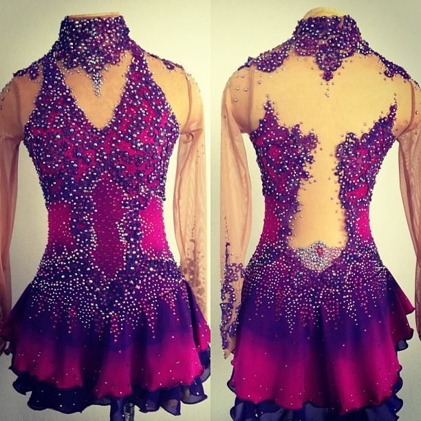 Pink & purple lace custom figure skating dress