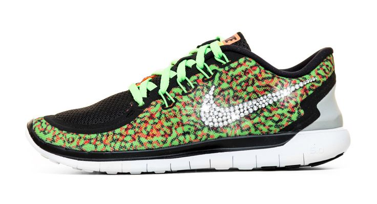 Nike Free 5.0 Running Shoes Hand Customized By Glitter Kicks - Green/White/Leopard Print