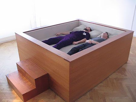 Sonic Bed - You can sink yourself into this bed and enjoy your favorite songs over its loudspeakers and six subwoofers which are located right under the bed. These subwoofers are able to produce extremely low frequencies that penetrate the human body, providing you with a deeply sensuous immersion for a trance-like corporeal, audio experience...awesome..