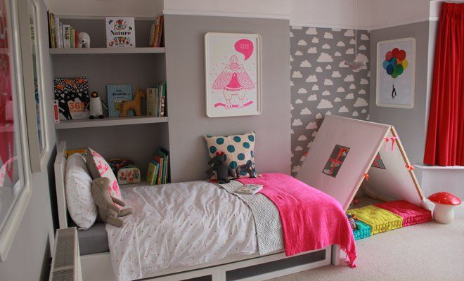 Loving this kids room!  Neutral foundation with pops of neon color that can easily be switched out when they outgrow it.