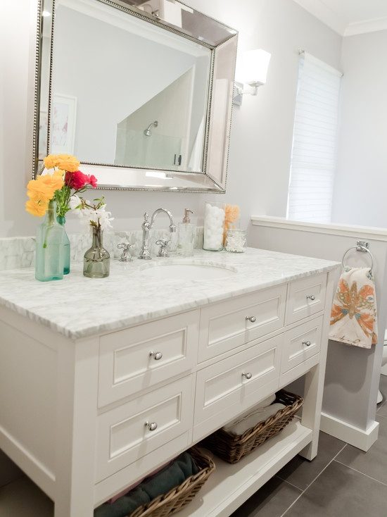 This room is a great example of using light to capture the feeling of a space.   Pottery Barn Vanity