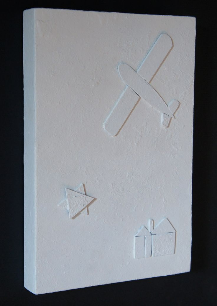 """"""" Ricordare sempre anche Terezin """"# 2 (da quaderni e graffiti di bambini uccisi),Monocromo bianco su ferro ossidato,Collage, cm 30 x 20, 2013"""