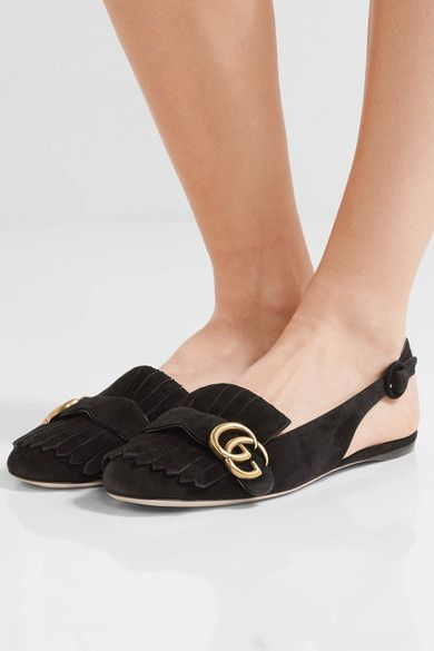 Gucci - Marmont Fringed Suede Slingback Flats - Black