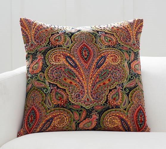 NEW IN PACKAGE! Pottery Barn Natasha Embellished Paisley Velvet Pillow Cover #PotteryBarn