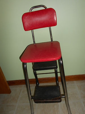 Vintage Cosco Step Stool Chair - Padded Seat and Metal Frame & 104 best antique cosco stools images on Pinterest | Costco Step ... islam-shia.org