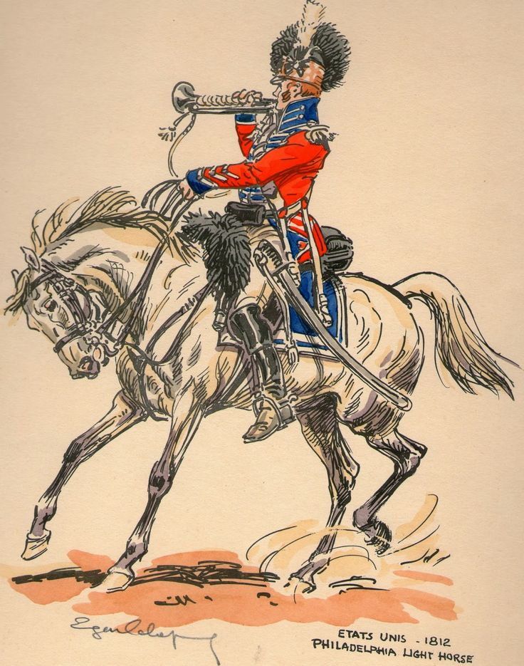Bugler, Philadelphia Light Horse c1812, by Eugène Leliepvre.