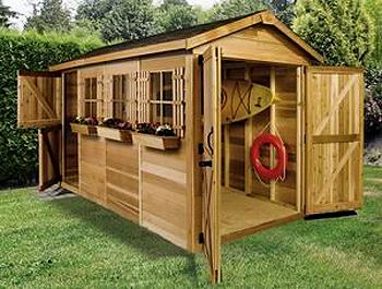 Cute storage shed idea, painted red or made from weathered barn wood.