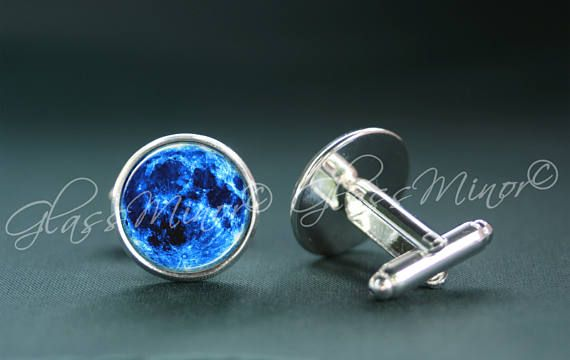 Blue Full Moon Cufflinks, Galaxy Groomsmen Usher Cufflinks, Wedding Cufflinks, Lunar Cufflinks, Universe Cosmos Solar Outerspace Lovers Gift