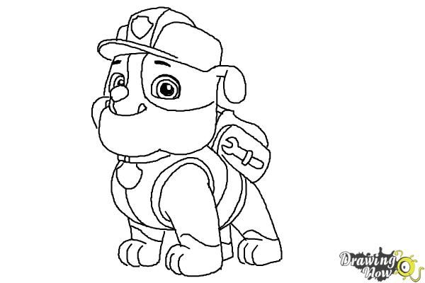 How to Draw Rubble Paw Patrol.Follow this step by step