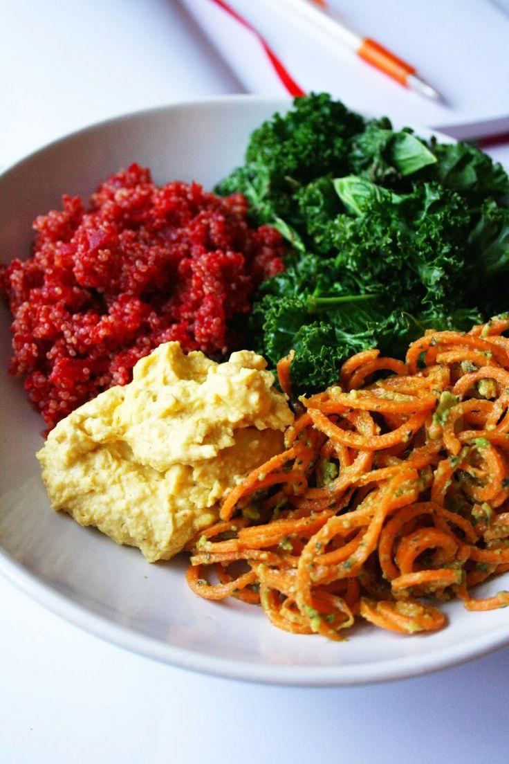 """Lunch inspiration - recept på bönröra med currysmak, rödbetsquinoa och morotspasta (bean spread with curry, quinoa with beetroot, carrot """"pasta"""""""