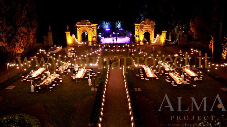 ALMA PROJECT @ Villa di Geggiano - bulbs lighting - garden - party lighting 134