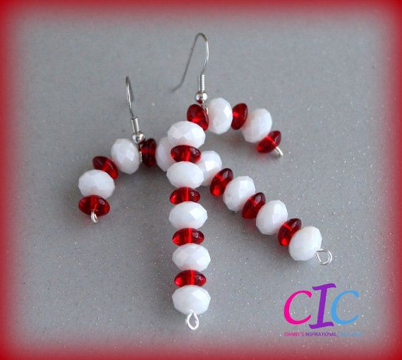 Red and White Handmade Candy Cane Earrings by CIC on Etsy,