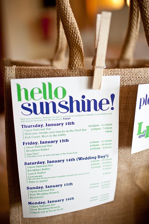 Weekend itinerary for destination wedding. Love the blue and green and the font.