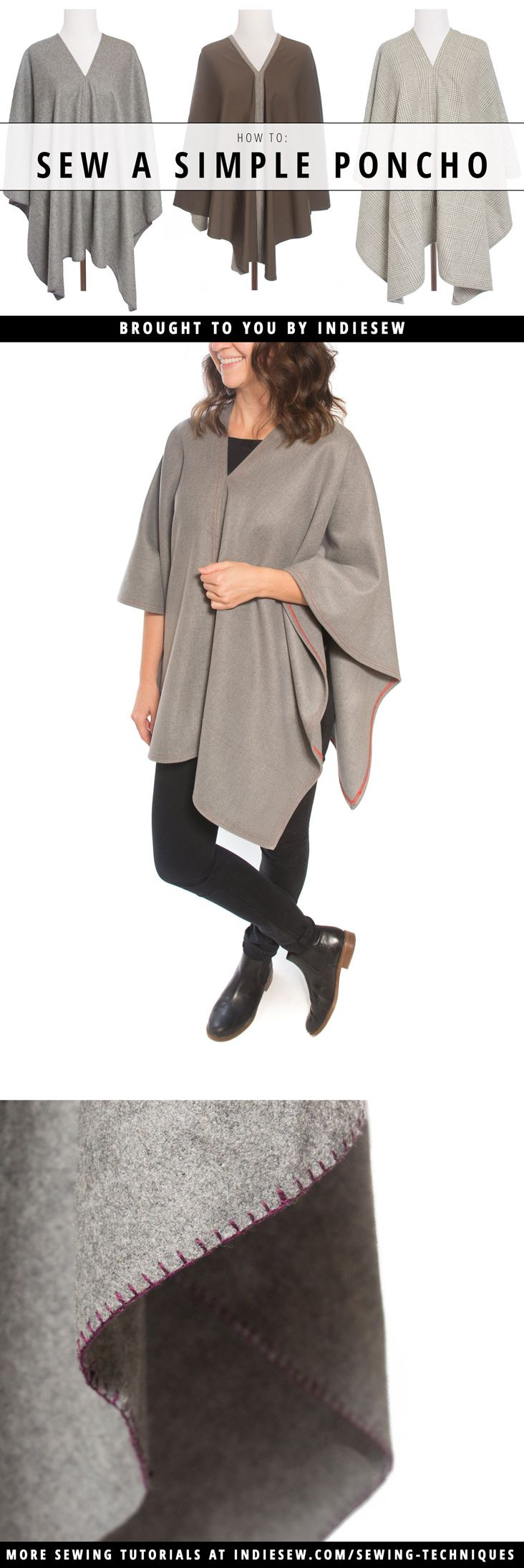 Two rectangles of fabric and a few straight seams is all it takes to make your own cozy winter poncho. Get the step-by-step instructions on the blog!   Indiesew.com
