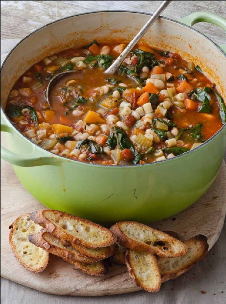 Barefoot Contessa's Winter Minestrone and Garlic Bruschetta. This is an amazingly good soup! I did not have the pancetta available to put in the soup, so I substituted a good thick smokey bacon, and thought it was fabulous. I also made the crusty bread recipe that I found on Pinterest with this, and it was a great addition. Easy and a fast hearty soup to make! 10 Stars!!!