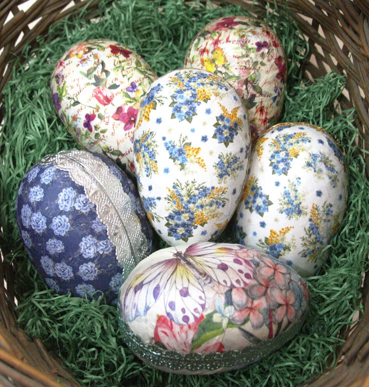 Make you own decoupage Easter egg boxes with pretty decoupage rice papers from Italy, Dresden foil trims from Germany and papier cache egg boxes from Germany.  Fun and easy DIY.