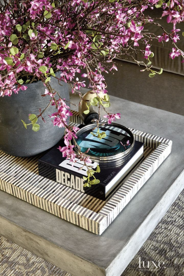 Transitional Coffee Table Detail with Striped Tray | LuxeSource | Luxe Magazine - The Luxury Home Redefined