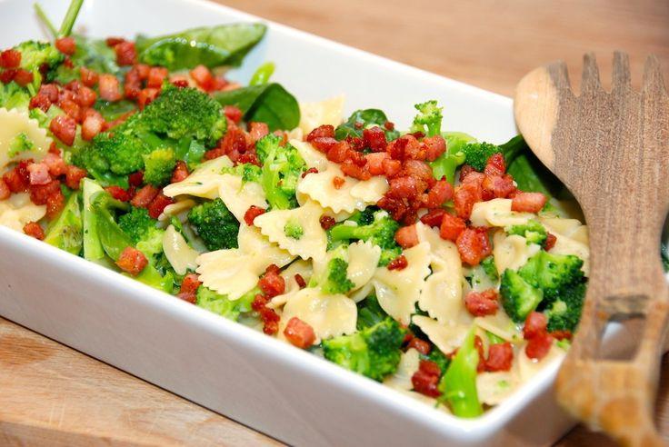 Opskrift på pasta med spinat, hvor du også bruger bacon og broccoli. Pastaretten laves med en lækker æggesauce, og er uden fløde. Pasta med spinat er en hurtig pastaret, der vendes i en æggesauce, …