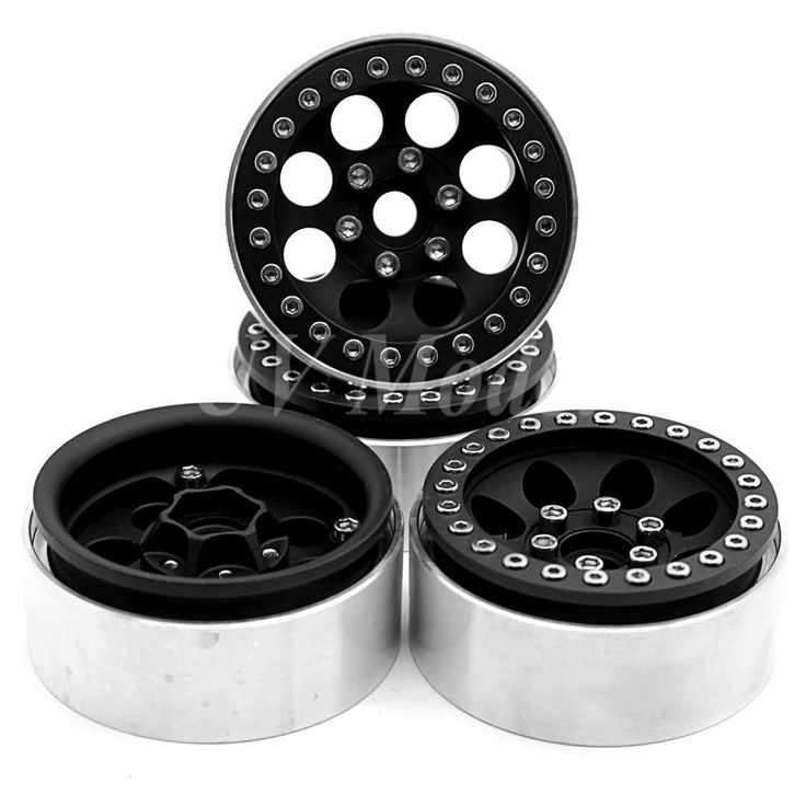 4 Pcs/lot Black Alloy 1/10 RC Crawler 1.9 Beadlock Wheels for SCX10 D90 90034 90035 Aluminum Rim Free Shipping