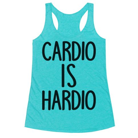 """Cardio Is Hardio - Show off your funny gym humor with this cardio workout design featuring the text """"Cardio Is Hardio"""" for your difficult relationship with cardio fitness! Perfect for funny gym quotes, gym cardio, gym puns, funny fitness, cardio quotes, and fitness humor!"""